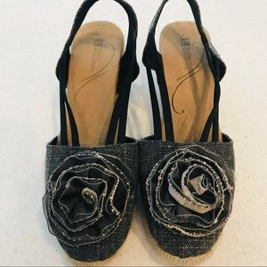 White Mountain Black Denim Floral Wedges